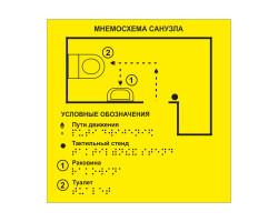 Тактильная мнемосхема санузла 200x200 мм. (Пвх)