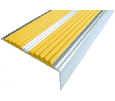 Тактильная накладка на ступень - Угол-порог с двумя вставками желтого цвета 1,33 м