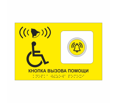 Кнопка вызова помощи сенсорная с азбукой брайля с тактильной табличкой из Пвх